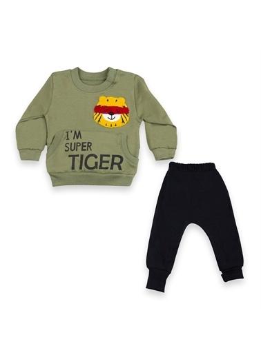 Vip Bebe Vipbebe Babyhi I'm Super Tiger Baskılı Erkek Bebek Takım Haki